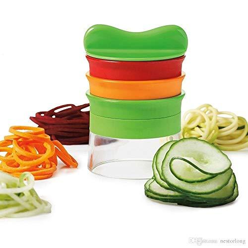 Spiralschneider 3 in 1 Set Premium 3 Klingen Bundle inkl. Reinigungsbürste & Orangenschäler Gemüsenudeln Spaghetti Julienne Gemüseschneider Zucchini Low Carb Rohkost Fit 1 Premium Bundle