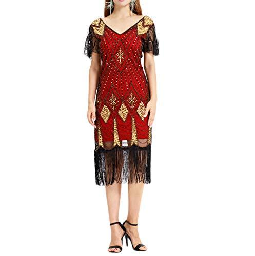 Kleider Damen,SANFASHION Damen Kleid Retro 1920s Stil Flapper Kleider voller Pailletten Runder Ausschnitt Great Gatsby Motto Party Kleider Damen Kostüm ()