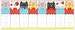 Graziosi segnalibro adesivi gatti sul tetto colorati notes adesive