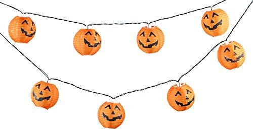 PEARL Lichterkette-Hängedeko: LED-Lichterkette mit 10 Lampions im Halloween-Kürbis-Look, Timer, IP44 (Lampion-Lichterkette ()