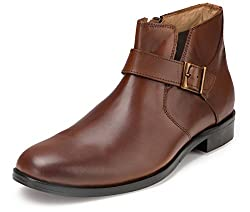 Escaro Mens Brown Leather Boots(ES4064HF_Brown_7)