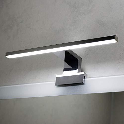 LED Spiegelleuchte 2-in-1 Aufbauleuchte/Klemmleuchte 30cm 2,5W in Chrom IP44 neutralweiß 4200K - für Spiegel und Bad (Chrom Poliert - Neutralweiß 4200K) -