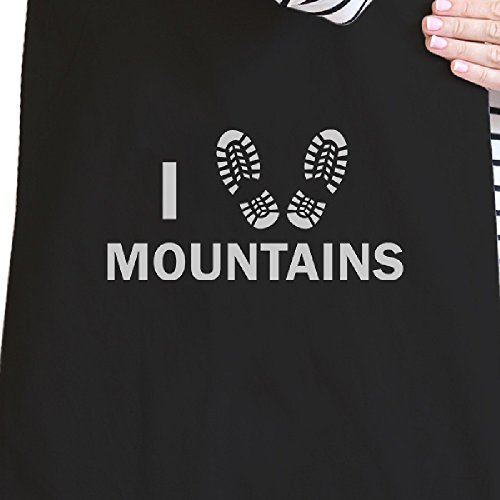 365 Printing inc , Borsa da spiaggia  Donna Flower Natural I Heart Mountains Black