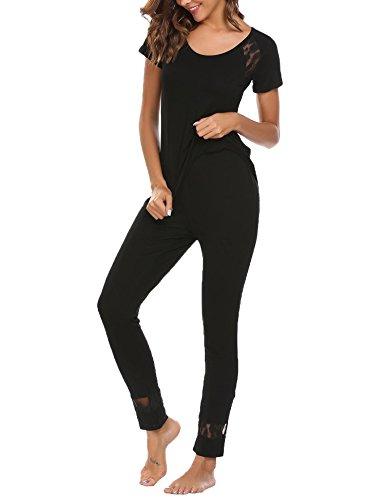 Ekouaer Damen Schlafanzug Spitze Patchwork Modal Kurzarm O-Ausschnitt Nachtwäsche Sets mit Elastische Taille und lang Shorts Schwarz