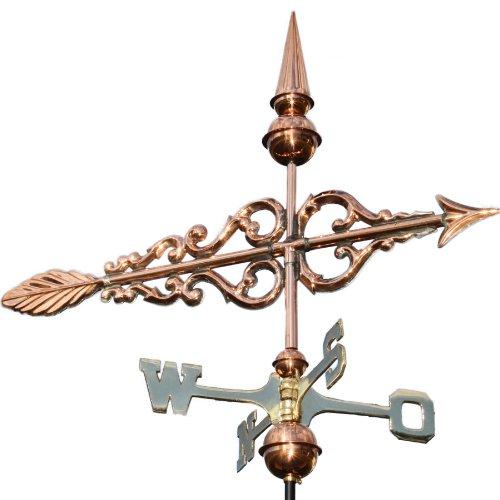 Linneborn 3D Wetterfahne, Wetterhahn Motiv Pfeil aus Kupfer inkl. Befestigung. 55 cm lang Windrichtungsanzeiger Windspiel fürs Dach