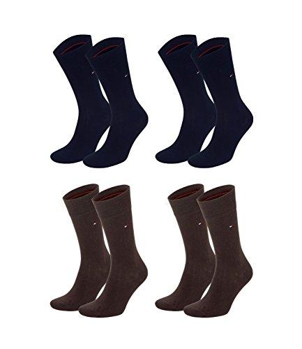 TOMMY HILFIGER Herren Classic Casual Business Socken 4er Pack verschiedene Farben (2er dark navy (322)/2er braun (937), 39-42)