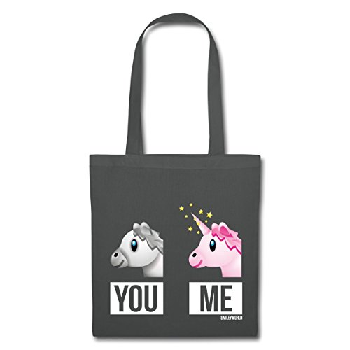 Spreadshirt SmileyWorld You Vs Me Pferd Gegen Einhorn Stoffbeutel Graphite