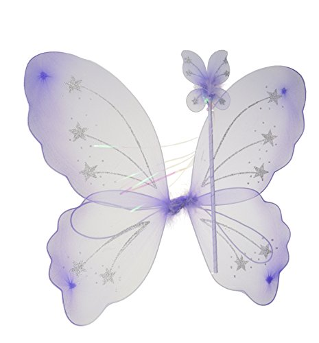 Mesdames fille fée papillon Set comprend ailes et baguette en violet