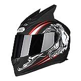 YUEMS Casque Amovible Moto Equitation Extérieure Noir Miroir Anti-Brouillard Casque Intégral Casque Noir Diable Rouge (Couleur : Black Dragon Devil, Taille : XL)