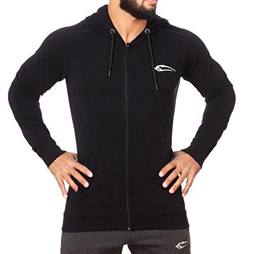 SMILODOX Kapuzenpullover Herren 'Heat' | Zip Hoodie für Sport Fitness Training & Freizeit | Trainingsjacke - Sportpullover - Sweatjacke - Kapuzenpulli mit Reißverschluss Schwarz