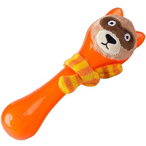 GiGwi 6263 Schwimmfähiges Hundespielzeug Plush Friendz Bär mit Schal, Knochen aus Gummi und Plüsch, orange