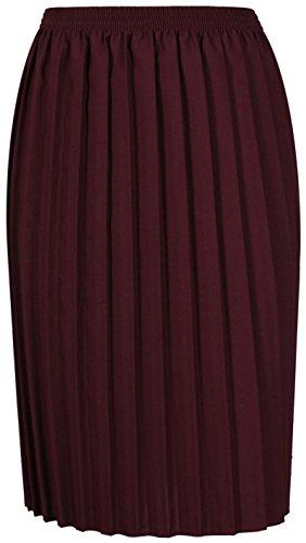 Femmes uni plissé Extensible Femmes Classique droit ajusté Ceinture élastique jupe longue grande taille Bordeaux