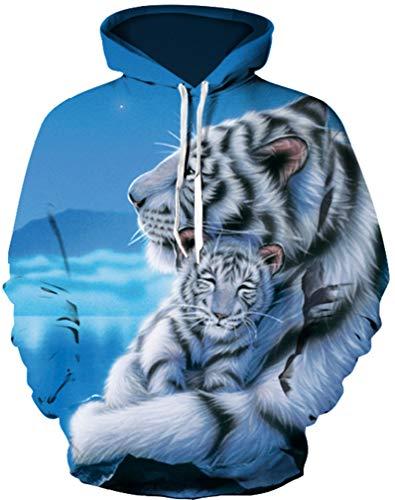 Ocean Plus Jungen Langarm Galaxis Kapuzenpullover Bunt Casual Sweatshirts Pullover mit Kapuzen Pulli für Kinder Hoodie (S/M (Erwachsenengröße: 155-170cm), Weißer Tiger und weißes Tigerbaby)