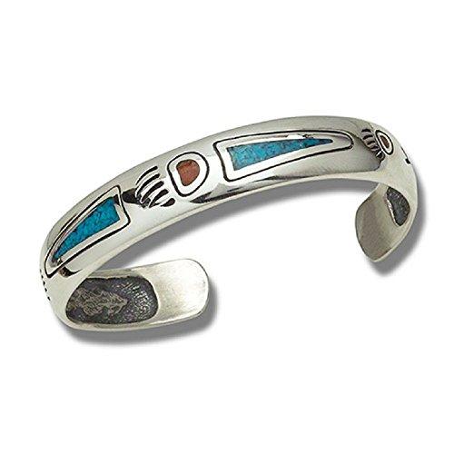Indianerschmuck Armreif Bärentatze Türkis Koralle Chip Inlay 925 Sterling Silber