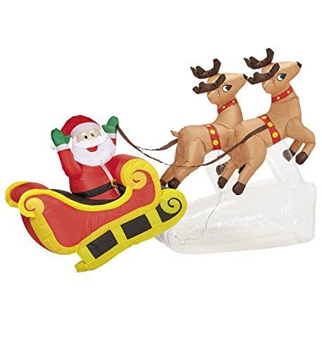 Babbo natale su slitta con renne decorazione natalizia luminosa gonfiabile