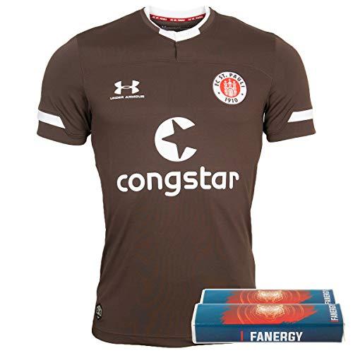 FC St. Pauli Trikot Fußball Heimtrikot 2019-20 braun + 2X FANERGY Traubenzucker (M)