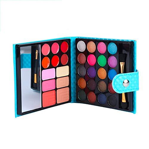 JWR 32 Farben Lidschatten-Palette Lidschatten-Profi mit kosmetischem Lederetui 4 Muster...