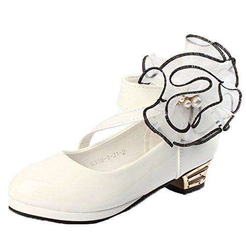 OPSUN Ballerines à bride Enfants Filles Chaussure de Danse Cérémonie Mariage Escarpin demoiselle d'honneur Babies Blanc