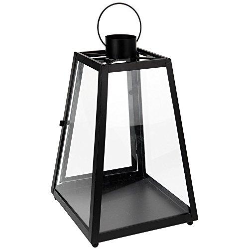 Windlicht aus Glas und Metal H: 38cm (Schwarz)
