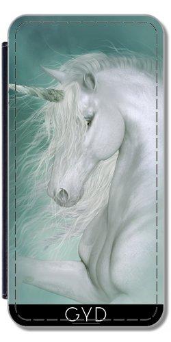 DesignedByIndependentArtists Leder Flip Case Tasche Hülle für Microsoft Lumia 435 - Magische Einhorn by Illu-Pic.-A.T.Art
