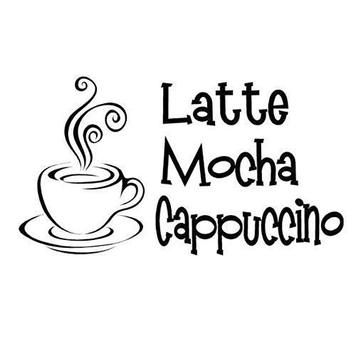 Mode Kunst Wandbild Kaffeetasse Cafe Wandtattoo Zitat Latte Mokka Cappuccino Vinyl Wasserdichte...