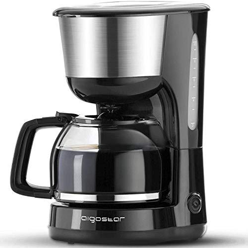 Aigostar Chocolate 30HIK-Máquina de café, 1000W cafetera de filtro, con filtro reutilizable y función de mantener caliente. Sistema antigoteo. 1,25 litros y libre de BPA. Diseño exclusivo.