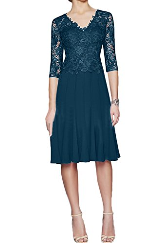 Ivydressing Damen Elegant Halb Aermel Spitze&Chiffon A-Linie Promkleid Mutterkleid Festkleid Abendkleid Blaugruen