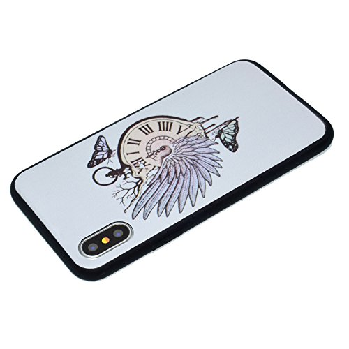 Custodia Cover iPhone X Transparente iPhone X Case, JAWSEU Creativo Disegno Antiurto Corpeture Cristallo Chiaro Case per iPhone X Super Sottile Case Custodia Cover per iPhone X Protettiva Shock-Absorp Orologio da tasca