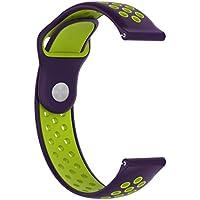 Conquro Correa Doble del Color Reemplazo Suave Goma de Silicona Reloj Banda para Garmin vivoactive 3 (N)