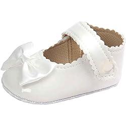 Auxma Zapatos de bebé, Niña Bowknot Zapatos de cuero suave (11cm(0 ~ 6mes), Blanco)