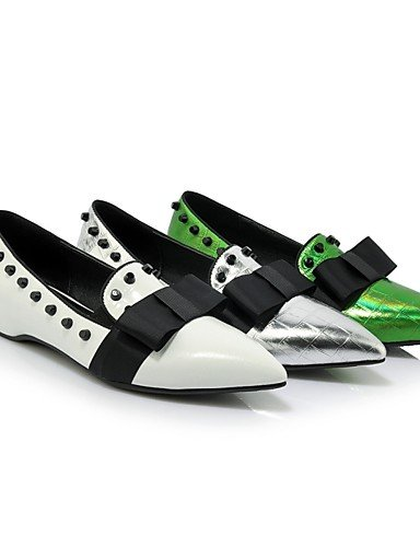 WSS 2016 Chaussures Femme-Bureau & Travail / Décontracté-Vert / Blanc / Argent-Talon Bas-Talons / Bout Pointu-Chaussures à Talons-Cuir green-us7.5 / eu38 / uk5.5 / cn38