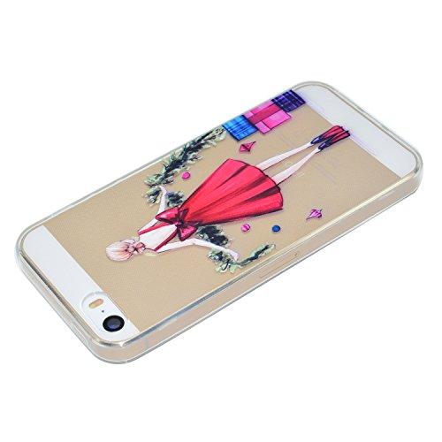 iPhone 5S / iPhone SE Hülle, Voguecase Silikon Schutzhülle / Case / Cover / Hülle / TPU Gel Skin für Apple iPhone 5 5G 5S SE(Hut Mädchen) + Gratis Universal Eingabestift Rotes Kleid Mädchen 03