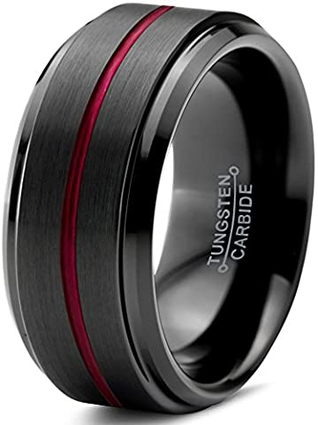 Tungsten Wedding Band Ring 10mm for Men Women Red Black Beveled Edge Brushed Polished Center Line Lifetime Guarantee Size 58