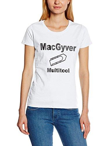Touchlines - T-Shirt MacGyver - Multitool, T-shirt da donna, bianco (white), XS