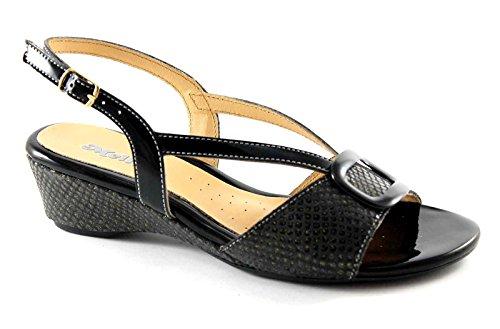 MELLUSO 8735 nero scarpe donna sandali cinturino strass zeppa Nero