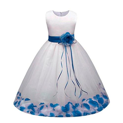 Sannysis Mädchen Kinder Tüll Blume Kleider Blumenmädchenkleider Hochzeitskleid Brautjungfern...