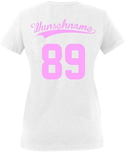 EZYshirt® Wunschnamen und Wunschnummer Brannon Pärchen Rundhals T-Shirt Damen/Weiss/Rosa