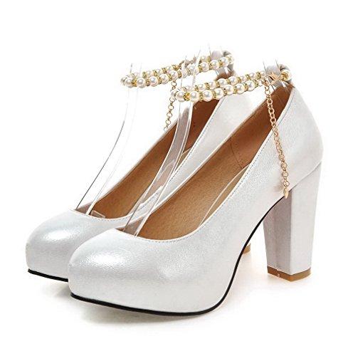 AllhqFashion Femme Couleur Unie Matière Souple Boucle Rond Chaussures Légeres Argent