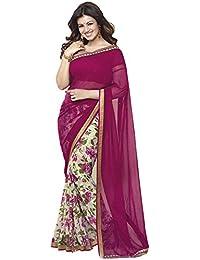 Finix Fashion Women's Georgette & Chiffon Saree With Blouse Piece (Pink)