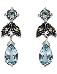 Bijoux pour tous 214E5303-01/925 - Pendientes de plata de ley con topacio azul con cierre de mariposa a presión