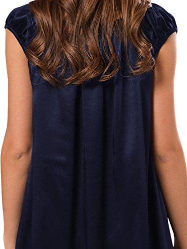 ELLESILK 100% Natur-Seide Nachthemd Damen, Maulbeerseide Nachtkleid 22 Momme Navyblau