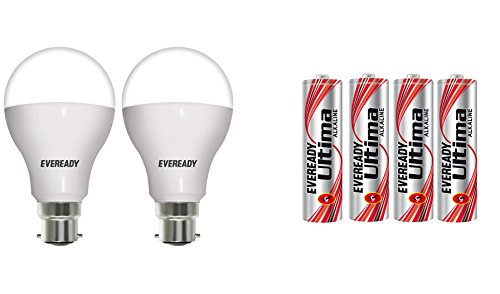 Eveready Base B22D 12-Watt LED Bulb (Pack of 2, Cool Day Light) with Free 4 AAA Alkaline Batteries