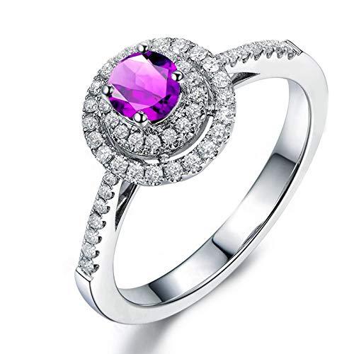 KnSam Ring 925 Silber Damen Trauringe Echt Amethyst Rund Jahrestag Verlobungsringe Geschenk für Frauen Mutter Gr.51 (16.2) Modeschmuck