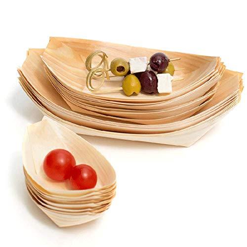 NATUREstar 100 x Holz-Schälchen | Bio Holzschalen | 100% kompostierbar und umweltfreundlich | Holz Schiffchen | Holzboote | für Fingerfood & Snacks | Party Geschirr | Naturprodukt (L (18 x 9cm))