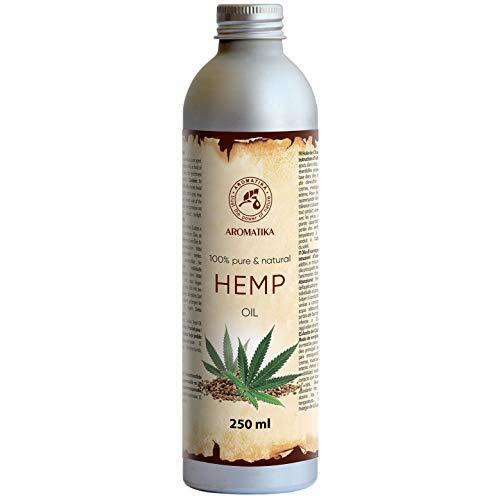 Hanföl 250 ml Cannabis Sativa Seed Oil -100% Reines Naturreines Kaltgepresst Hanfsamen Öl - Hanf Öl - Hanfsamenöl - Intensive Pflege Für Gesicht - Körper - Haare - Hanf-Öl -