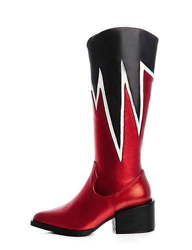 CU@EY Da donna-Stivaletti-Formale / Casual-Stivali da cavallerizza / Stivali / A punta-Quadrato-Pelle-Blu / Rosso blue-us6 / eu36 / uk4 / cn36