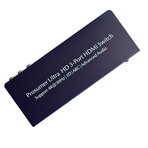 Coax Remote (HUIERAV HDMI Switch 3x1 + HDMI Audio Extractor | HDMI ARC Extractor | SPDIF/COAX L/R Audio Ausgabe | 4Kx2K/30Hz/1080P/3D)