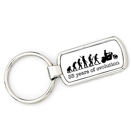 33E anniversaire âge–Coffret Cadeau–Moto–Biker Mans Evolution Porte-clés Ape à un anneau porte-clés