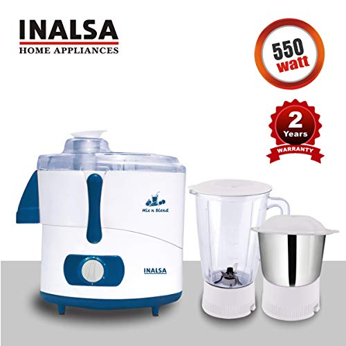 INALSA Juicer Mixer Grinder Mix N Blend -550W, Anti-Skid Feet, (White/Blue)