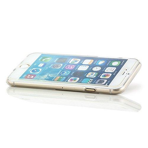 Saxonia iPhone 6 / iPhone 6S Hülle Silikon Flip Case Tasche Schutzhülle Wallet mit Touch View Fenster Silikonhülle Violett Transparent